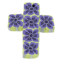 Polymer Clay Pendants, Cross, handmade, with flower pattern, 26x33x5mm, Hole:Approx 1mm, 100PCs/Bag, Sold By Bag