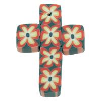 кулон из полимерной глины, полимерный клей, Kресты, Связанный вручную, с цветочным узором, 21x32x3mm, отверстие:Приблизительно 1mm, 100ПК/сумка, продается сумка