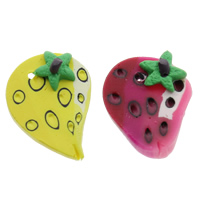 Polymer Clay Pendants, Strawberry, handmade, mixed colors, 16x21x6mm, Hole:Approx 1.5mm, 100PCs/Bag, Sold By Bag