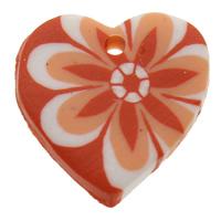 кулон из полимерной глины, полимерный клей, Сердце, Связанный вручную, с цветочным узором, оранжевый, 19x19x4mm, отверстие:Приблизительно 1mm, 100ПК/сумка, продается сумка