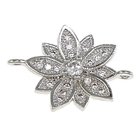 Cubic Zirconia Micro Pave Brass Connector Flower platinum plated micro pave cubic zirconia   1/1 loop nickel lead   cadmium free 19x14x3mm Hole:Approx 1mm 10PCs/Lot
