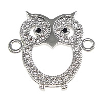 Cubic Zirconia Micro Pave Brass Connector Owl platinum plated micro pave cubic zirconia   1/1 loop nickel lead   cadmium free 18.50x17x3mm Hole:Approx 1.5mm 10PCs/Lot