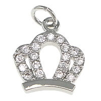 Cubic Zirconia Micro Pave Brass Pendant Crown platinum plated micro pave cubic zirconia nickel lead   cadmium free 10x11x2mm Hole:Approx 2.5mm 10PCs/Lot