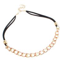 Алюминий Ожерелье, алюминий, с шерстяной шнур & цинковый сплав, с 7cm наполнитель цепи, плакирован золотом, твист овал & эмаль, не содержит никель, свинец, 4mm, 10x15x2.5mm, длина:Приблизительно 18 дюймовый, 10пряди/сумка, продается сумка