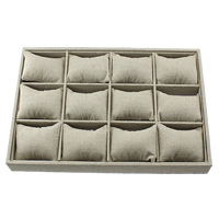 Linen Bracelet Display, with Wood, Rectangle, 352x242x40mm, 2PCs/Lot, Sold By Lot