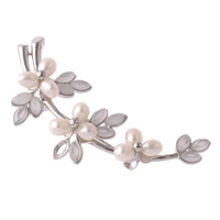 Freshwater Pearl Brooch, with Brass, Flower, with rhinestone, black, 74x27x15mm, 5-6mm, Sold By PC