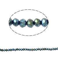 Kryształowe koraliki rondelle, Kryształ, Okrąg, imitacja kryształu CRYSTALLIZED™, metaliza, 3x4mm, otwór:około 1mm, długość:około 20 cal, 10nici/torba, sprzedane przez torba