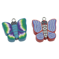 Polymer Clay Pendants, with iron bail, Butterfly, handmade, mixed colors, 23x25x5mm, Hole:Approx 3.5mm, 100PCs/Bag, Sold By Bag