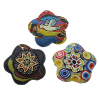 Polymer Clay Pendants, handmade, with flower pattern & mixed, 48x8mm, Hole:Approx 1mm, 50PCs/Bag, Sold By Bag
