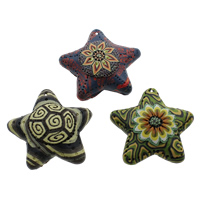 Polymer Clay Pendants, handmade, with flower pattern & mixed, 58x16mm, Hole:Approx 1mm, 50PCs/Bag, Sold By Bag