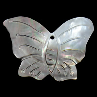 Natural Black Shell Pendants Butterfly 53x37x8mm Hole:Approx 2mm 10PCs/Bag