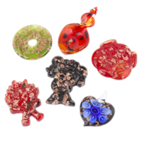 Mode Lampwork Pendants, handgjord, blandad, 27.5x44x11mm-36.5x52.5x9mm, Hål:Ca 2-7mm, 12PC/Box, Säljs av Box