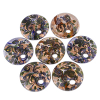 Gold Sand & Silver Foil Lampwork Pendants Flat Round handmade mixed colors Approx 8.5mm Sold By Box
