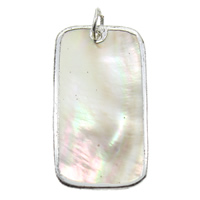 Natural Black Shell Pendants with Brass Rectangle platinum color plated 21x39x1mm Hole:Approx 2mm 10PCs/Bag