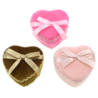 Velveteen Jewelry Set Box, finger ring & earring, with Sponge & Cardboard & Satin Ribbon, Heart, mixed colors, 73.50x70x42mm, 12PCs/Bag, Sold By Bag