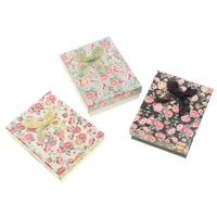 Cardboard Jewelry Set Box, finger ring & earring, with Sponge & Organza, Rectangle, with flower pattern, more colors for choice, 93x73x28mm, 36PCs/Bag, Sold By Bag
