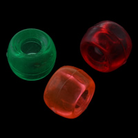 Transparent Acrylic Beads Drum mixed colors 9x6mm Hole:Approx 4mm Approx 1800PCs/Bag