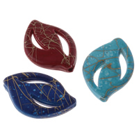 Drawbench Acrylic Beads, Leaf, solid color, mixed colors, 17x25x4mm, Hole:Approx 1mm, Approx 590PCs/Bag, Sold By Bag