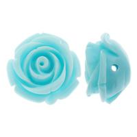 Koraliki z żywicy, żywica, Kwiat, solidny kolor, błękit nieba, 21x13mm, otwór:około 2mm, 200komputery/torba, sprzedane przez torba
