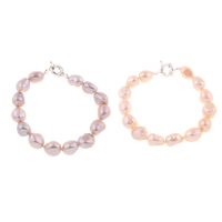 Freshwater Cultured Pearl Bracelet Freshwater Pearl brass spring ring clasp Baroque natural 10-11mm Sold Per Approx 7.5 Inch Strand