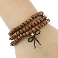 Деревянные браслеты, деревянный, с эластичная нить & цинковый сплав, плакирован золотом, вышитый бисером браслет & 3-нить, не содержит никель, свинец, 4.5x6.5mm, 24x24x1mm, длина:Приблизительно 21 дюймовый, 5пряди/Лот, продается Лот