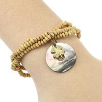 Деревянные браслеты, деревянный, с эластичная нить & Черная ракушка & Латунь, Плоская круглая форма, плакирован золотом, природный & 3-нить, не содержит никель, свинец, 24mm, 11x14x1.5mm, 2-2.5x3-3.5mm, длина:Приблизительно 6 дюймовый, 5пряди/Лот, продается Лот