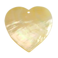 Natural Yellow Shell Pendants Heart 56x58x2mm Hole:Approx 3mm 10PCs/Lot