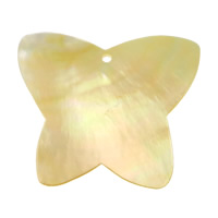 Natural Yellow Shell Pendants Butterfly 58x49x2.80mm Hole:Approx 2.8mm 10PCs/Lot