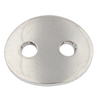 Oval Button Clasp Stainless Steel Flat Oval hand polished original color 14x12x1mm Hole:Approx 2mm 100PCs/Bag