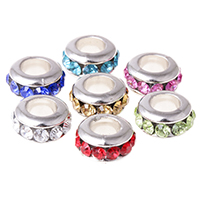 Rhinestone Spacer Bead, with Copper Coated Plastic, Rondelle, platinum color plated, different size for choice, mixed colors, 100PCs/Bag, Sold By Bag