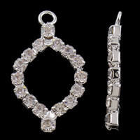 Rhinestone Brass Pendants, Horse Eye, silver color plated, with rhinestone, nickel, lead & cadmium free, 16x28x3mm, Hole:Approx 1.5mm, 10PCs/Bag, Sold By Bag