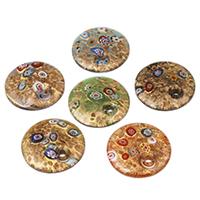 Ciondoli in vetro lavorato alla moda, Cerchio piatto, fatto a mano, con motivo millefiori & sabbia dorata, colori misti, 41x9mm, Foro:Appross. 5-6mm, 12PC/borsa, Venduto da borsa