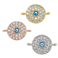 Evil Eye Connector, Brass, Flat Round, plated, evil eye pattern & micro pave cubic zirconia & enamel & 1/1 loop, more colors for choice, nickel, lead & cadmium free, 15.50x10x2mm, Hole:Approx 1.2mm, 10PCs/Lot, Sold By Lot