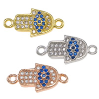 Evil Eye Connector, Brass, Evil Eye Hamsa, plated, Jewish  Jewelry & Islamic jewelry & micro pave cubic zirconia & 1/1 loop, more colors for choice, nickel, lead & cadmium free, 15x8x2mm, Hole:Approx 1.2mm, 10PCs/Lot, Sold By Lot