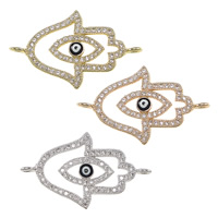 Evil Eye Connector, Brass, Evil Eye Hamsa, plated, Jewish  Jewelry & Islamic jewelry & micro pave cubic zirconia & enamel & 1/1 loop, more colors for choice, nickel, lead & cadmium free, 28x17x2.50mm, Hole:Approx 1.5mm, 10PCs/Lot, Sold By Lot