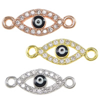 Evil Eye Connector, Brass, plated, micro pave cubic zirconia & enamel & 1/1 loop, more colors for choice, nickel, lead & cadmium free, 16x6x2mm, Hole:Approx 1mm, 10PCs/Lot, Sold By Lot