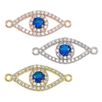 Evil Eye Connector, Brass, plated, micro pave cubic zirconia & 1/1 loop, more colors for choice, nickel, lead & cadmium free, 23.50x10x3mm, Hole:Approx 1.2mm, 10PCs/Lot, Sold By Lot