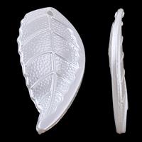 Tworzywa ABS perła Wisiorek, Liść, różnej wielkości do wyboru, biały, otwór:około 1mm, sprzedane przez torba