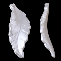 Tworzywa ABS perła Wisiorek, Liść, biały, 14x40x5mm, otwór:około 1mm, około 550komputery/torba, sprzedane przez torba