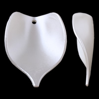 Tworzywa ABS perła Wisiorek, Liść, biały, 29x39x10mm, otwór:około 2mm, około 305komputery/torba, sprzedane przez torba