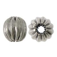 Rustfrit stål Bølgepap Perler, 304 roestvrij staal, Ronde, gegolfd, oorspronkelijke kleur, 5x5mm, Gat:Ca 1.5mm, 100pC's/Lot, Verkocht door Lot