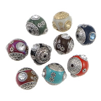 Indonesia Beads, with Zinc Alloy, Drum, antique silver color plated, with rhinestone, mixed colors, nickel, lead & cadmium free, 18x18-19mm, Hole:Approx 1.5mm, 100PCs/Lot, Sold By Lot
