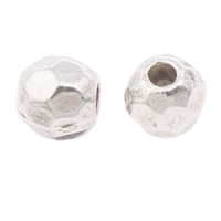 Zinc Alloy Jewelry Beads Drum antique silver color plated faceted nickel lead   cadmium free 3.5x3.5mm Hole:Approx 1mm Approx 6250PCs/KG