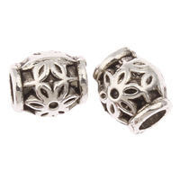 Zinc Alloy Jewelry Beads Drum antique silver color plated with flower pattern nickel lead   cadmium free 6.5x5.5mm Hole:Approx 1.5mm Approx 2174PCs/KG