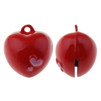 Brass Bell Pendant, Heart, painted, red, nickel, lead & cadmium free, 20x22x18mm, Hole:Approx 1.5mm, 50PCs/Bag, Sold By Bag