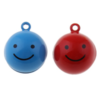 Brass Bell Pendant, Smiling Face, painted, more colors for choice, nickel, lead & cadmium free, 19x23x19mm, Hole:Approx 1.5mm, 50PCs/Bag, Sold By Bag