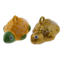 Brass Bell Pendant, Turtle, painted, more colors for choice, nickel, lead & cadmium free, 21x15x14mm, Hole:Approx 1.5mm, 50PCs/Bag, Sold By Bag