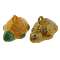 Mosiężna zawieszka dzwonek, Mosiądz, żółw, Malowane, dostępnych więcej kolorów, bez zawartości niklu, ołowiu i kadmu, 21x15x14mm, otwór:około 1.5mm, 50komputery/torba, sprzedane przez torba