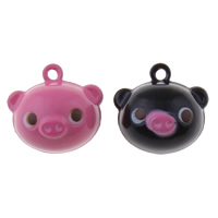 Brass Bell Pendant, Pig, painted, more colors for choice, nickel, lead & cadmium free, 20x18x16mm, Hole:Approx 1.5mm, 50PCs/Bag, Sold By Bag