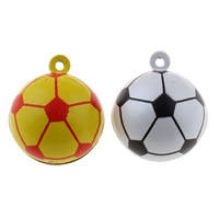 Brass Bell Pendant, Football, painted, two tone, more colors for choice, nickel, lead & cadmium free, 26x30x26mm, Hole:Approx 1.5mm, 50PCs/Bag, Sold By Bag